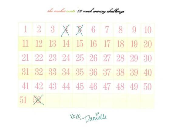 Bingo Style 52 Week Challenge