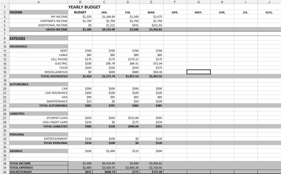 Yearly Budget Spreadsheet!